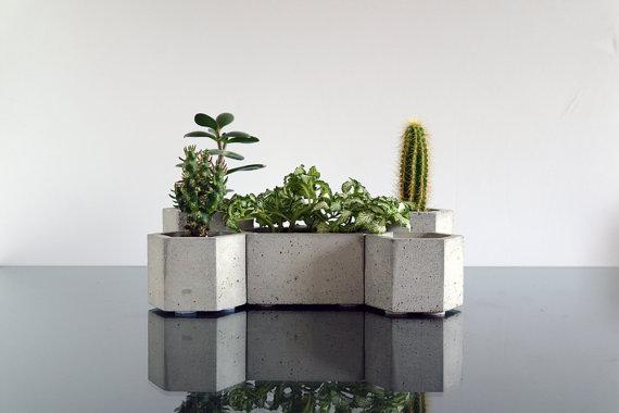 etsy - ConcWoodStreet - betonový květináč - 2