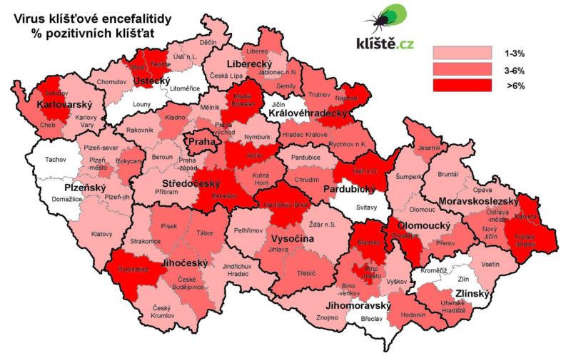 mapa vyskytu klistat - encefalitida